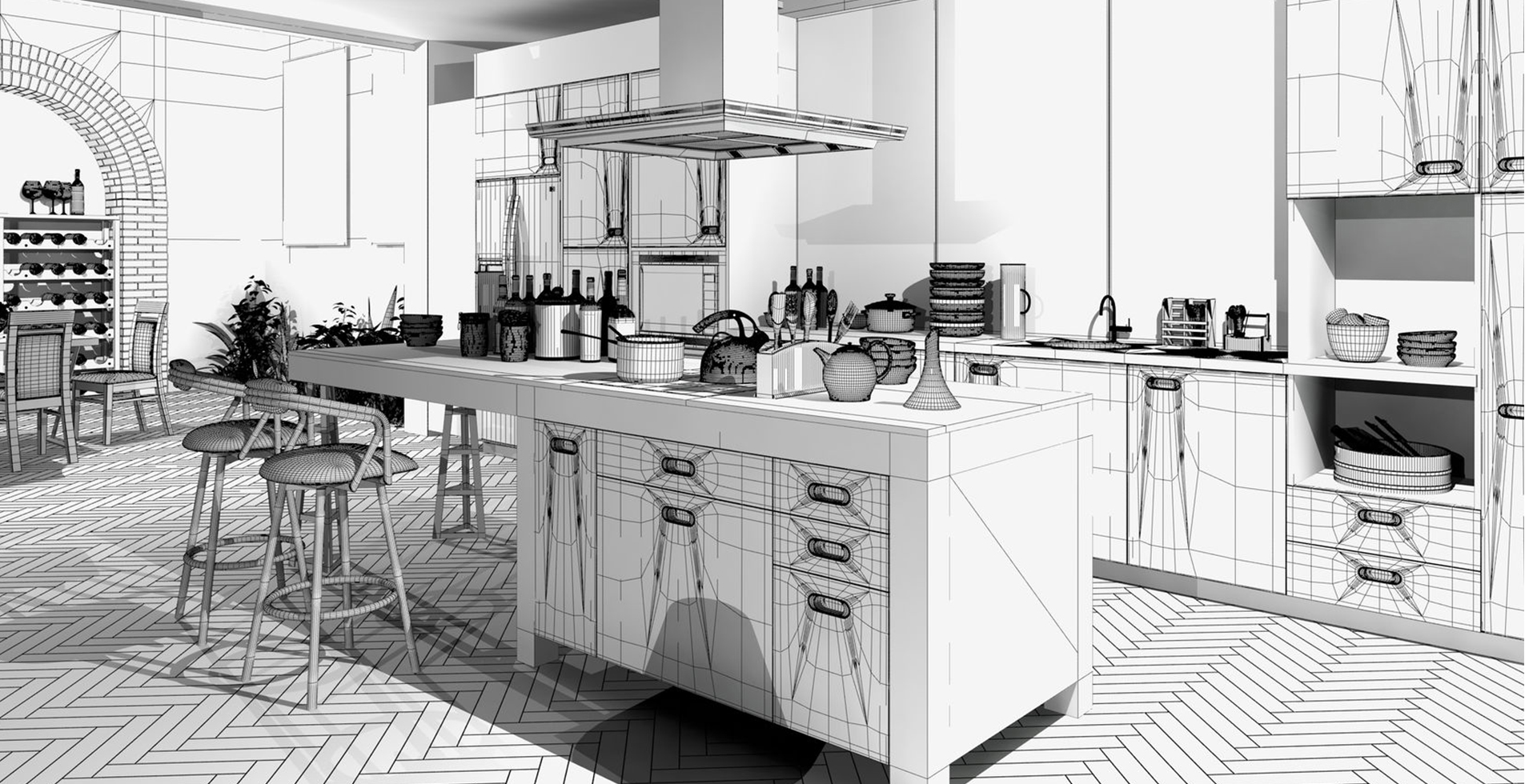 küche in wireframe